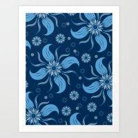 Floral Obscura Dark Blue Art Print