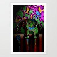 Green Elephant Art Print