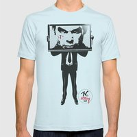 TV IS KILLING US Mens Fitted Tee Light Blue SMALL