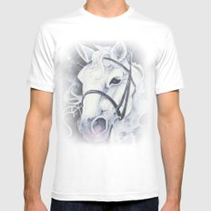 Pale White Horse SMALL White Mens Fitted Tee