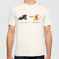 Skelly Cat And Orange Mens Fitted Tee Natural SMALL