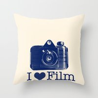 I ♥ Film (Blue/Peach) Throw Pillow