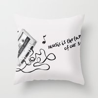 music is the language of our soul. Throw Pillow