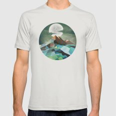 Night Mountains No. 3 Mens Fitted Tee Silver SMALL