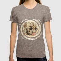 CUTE CLOUDED LEOPARD CUB Womens Fitted Tee Tri-Coffee SMALL
