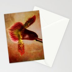 Ruby Lady Slipper Orchid Stationery Cards