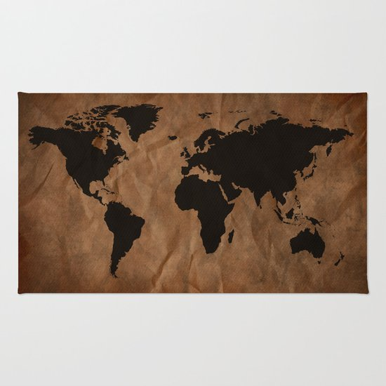 World Map Throw Rug: Old Wrinkled World Map Rug By Nicklas Gustafsson