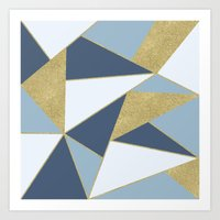 Abstract Blue And Gold Art Print