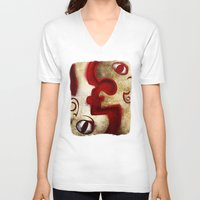 Red Digital Engraving Twin Faces Unisex V-Neck
