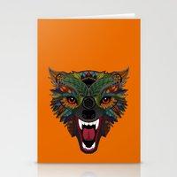 wolf fight flight orange Stationery Cards