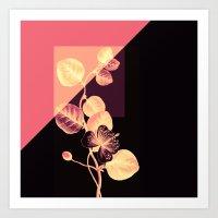 flower on pink,purple and black Art Print