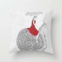 Girl And Snail  Throw Pillow