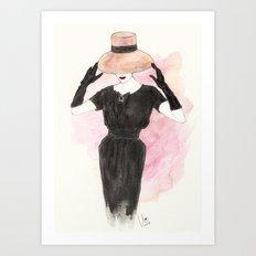 'Audrey' Watercolor Fashion Illustration Art Print