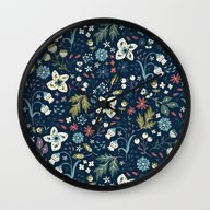 Wall Clock featuring Wild Meadow by Anna Deegan