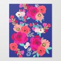 Sweet Pea Floral Blue Br… Canvas Print