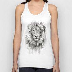 Lion Watercolor Black and White Animal Portrait Unisex Tank Top