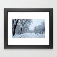 Snow in Central Park VII Framed Art Print