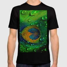 Drops on peacock  (This Artwork is a collaboration with the talented artist Agostino Lo coco) Mens Fitted Tee Black SMALL