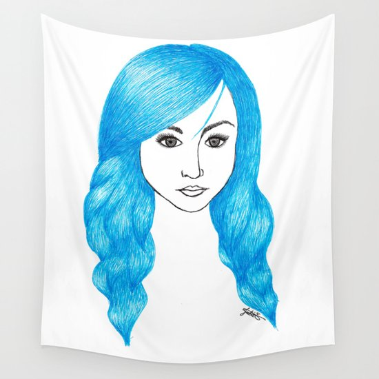 blue hair drawing fashion illustration wall tapestry art portrait
