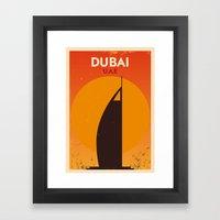 Vintage Dubai Poster Framed Art Print
