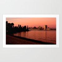 San Diego Skyline In Pin… Art Print