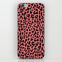 Neon Coral Leopard iPhone & iPod Skin
