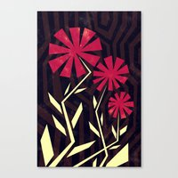 Red Flowers On Wood Canvas Print
