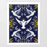 Doves Patterns Art Print