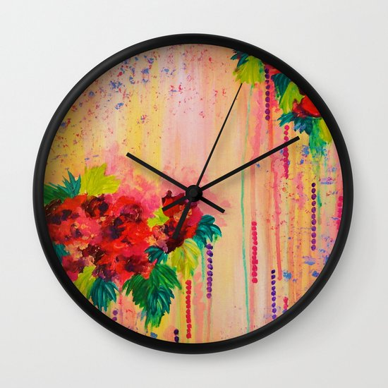 STRAWBERRY CONFETTI PAINTING Abstract Acrylic Floral Beautiful Feminine Flower Bouquet Girlie Pink Wall Clock