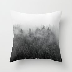 Black and White Mist Throw Pillow