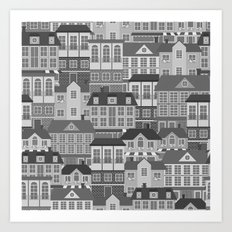 Urban. Black And White Art Print