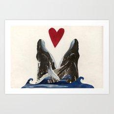 Whales in Love Art Print