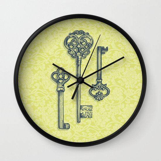 Three Skeleton Keys Wall Clock