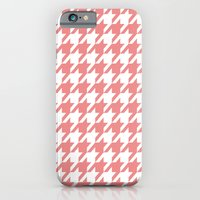iPhone & iPod Case featuring Houndstooth - Coral by Valerie Hoffmann