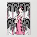 Art deco lady (black and white) Canvas Print