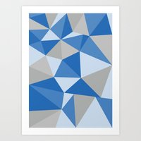 Blue & Gray Geometric Art Print