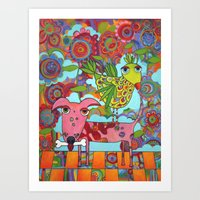 Bird On Dog Art Print