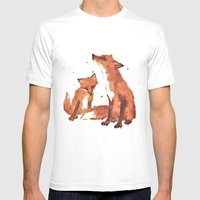 Lemon Foxes Mens Fitted Tee White SMALL