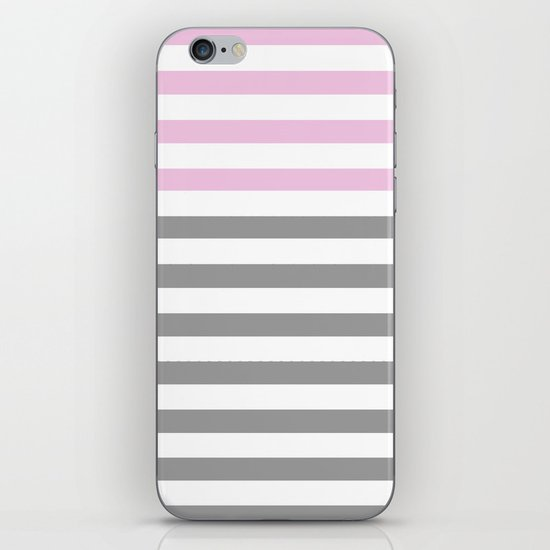 GRAY & PINK STRIPES iPhone & iPod Skin
