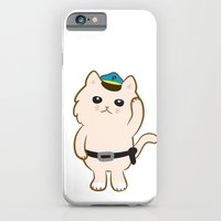 iPhone & iPod Case featuring Animal Police - Cream cat by Tetchan