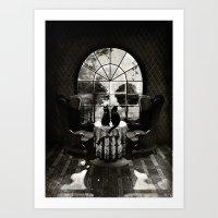 Room Skull B&W Art Print