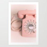 vintage PHONE pink Art Print