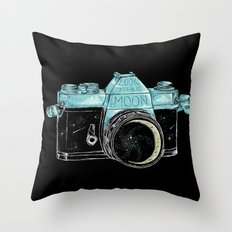 look the moon Throw Pillow