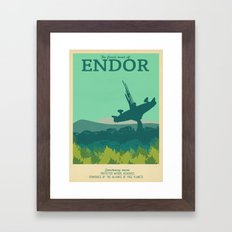 Retro Travel Poster Series - Star Wars - Endor Framed Art Print