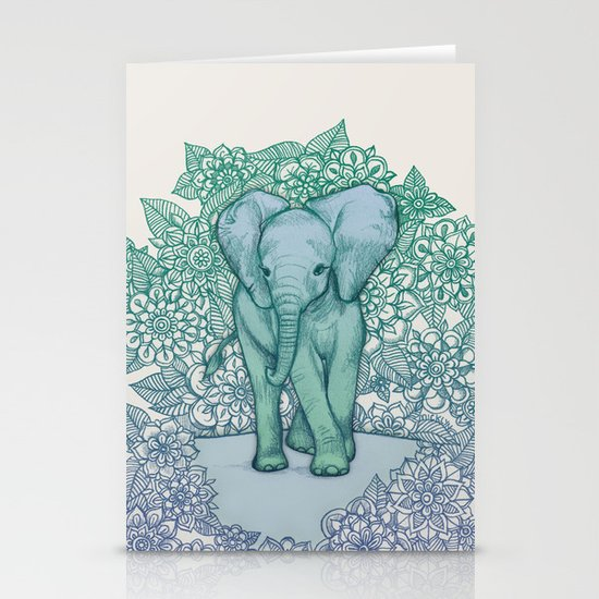 Emerald Elephant in the Lilac Evening Stationery Card