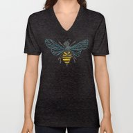 Unisex V-Neck featuring Honey Bee by Cat Coquillette