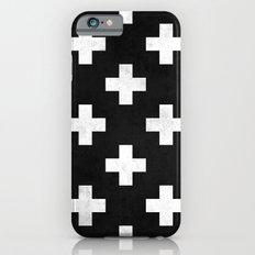 Black and white swiss cross pattern iPhone 6 Slim Case