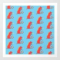 Blue Cartoon Dinosaur Soccer Pattern Art Print