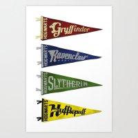 Vintage Hogwart's Pennant Collection Art Print