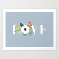 Floral Love - in Dusty Blue Art Print